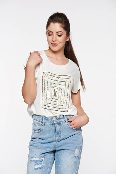 Top Secret white casual flared t-shirt from soft fabric slightly elastic fabric with sequin embellished details