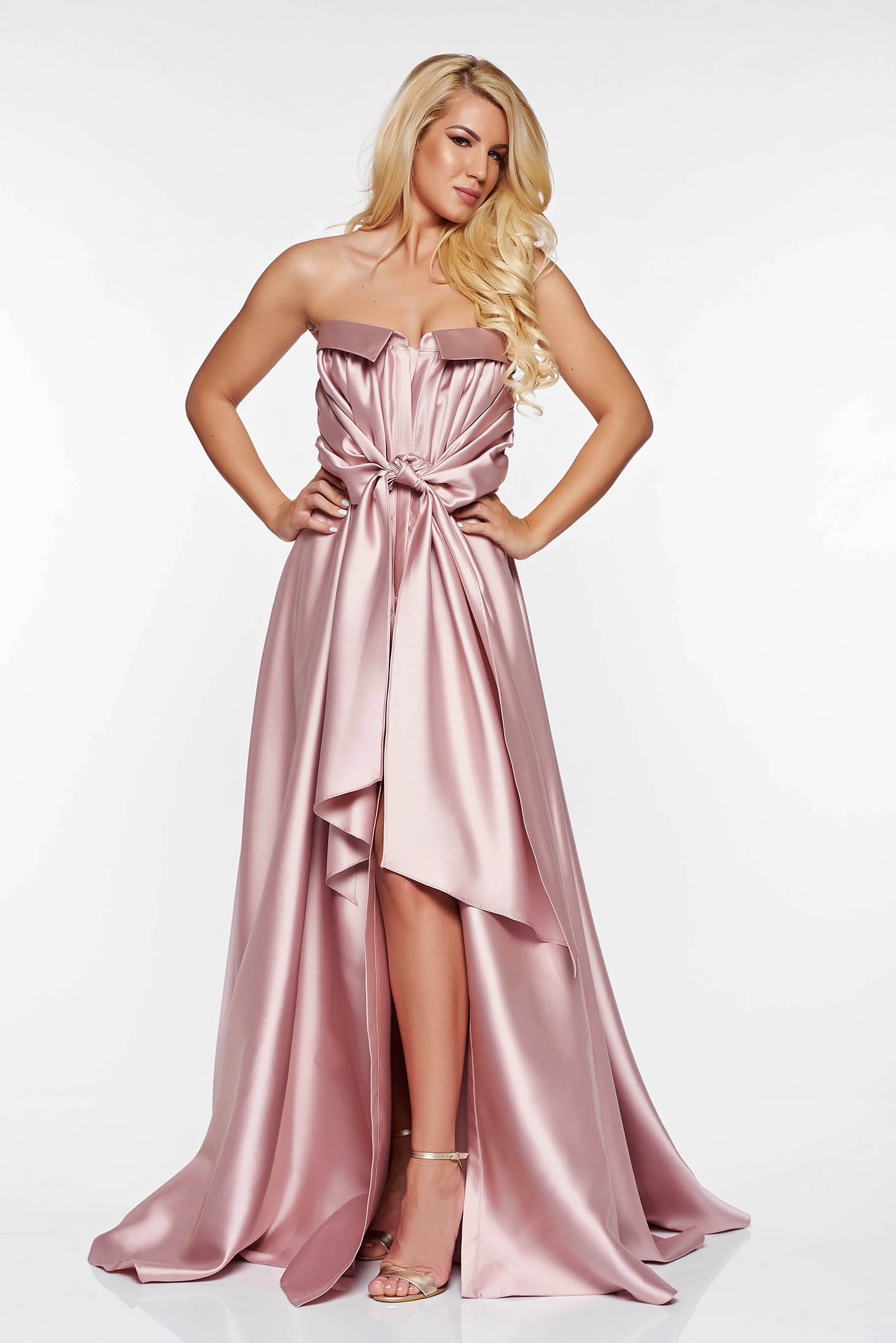 LaDonna rosa dress occasional from satin fabric texture asymmetrical off shoulder