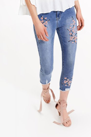 Top Secret blue casual skinny jeans embroidered elastic cotton with medium waist