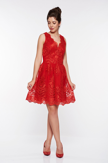 LaDonna red occasional cloche dress laced with inside lining