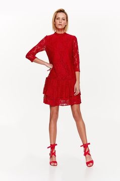 Top Secret red elegant with easy cut dress from laced fabric with inside lining with ruffle details