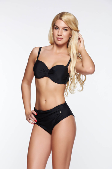 Top Secret black bathing bra from elastic and fine fabric adjustable straps detachable straps with push-up bra