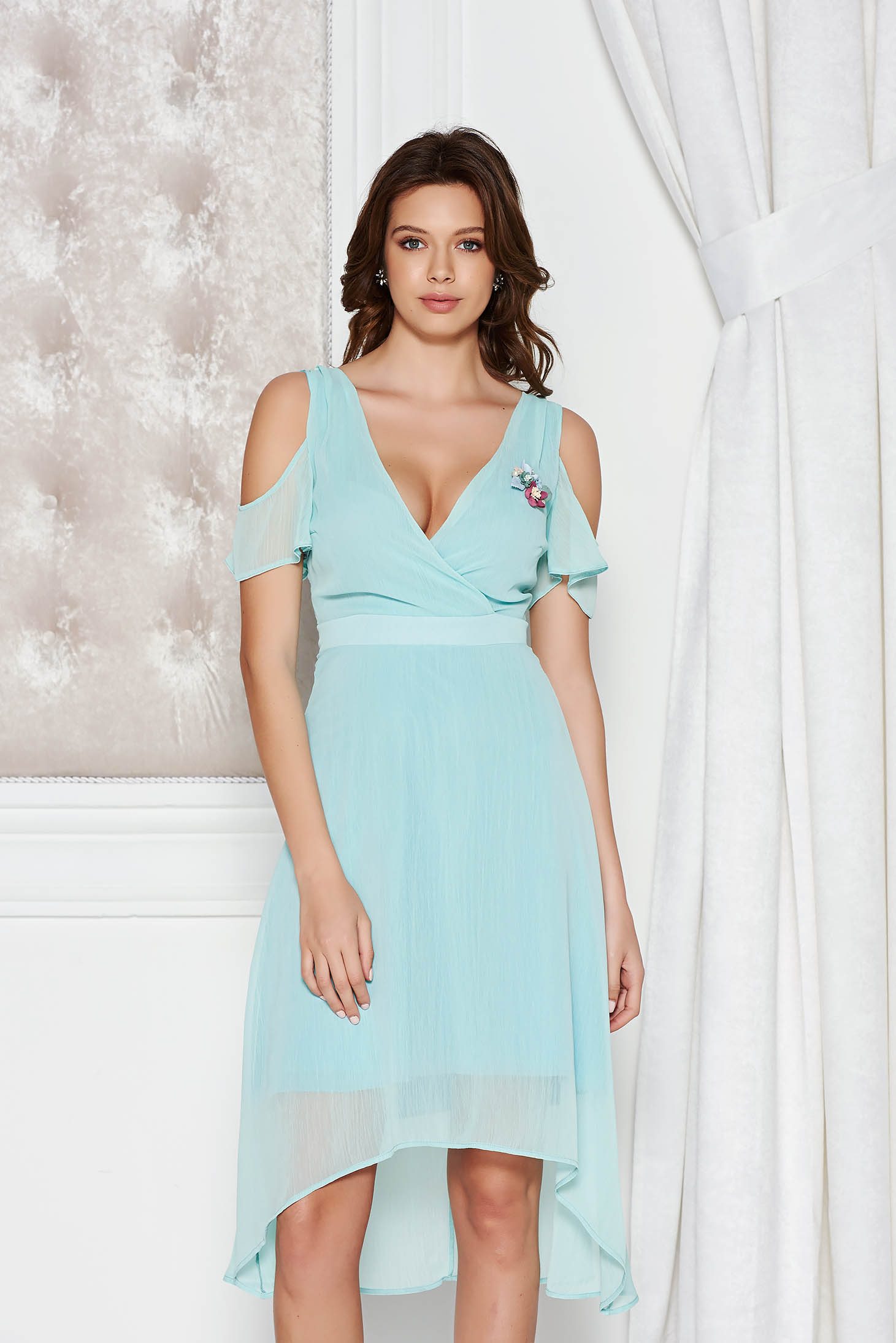 StarShinerS mint occasional asymmetrical dress transparent chiffon fabric with inside lining both shoulders cut out