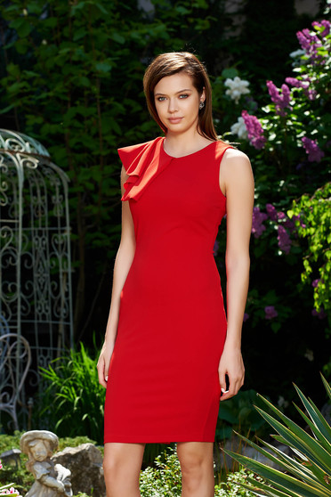 StarShinerS red elegant pencil dress from elastic and fine fabric with ruffles on the chest