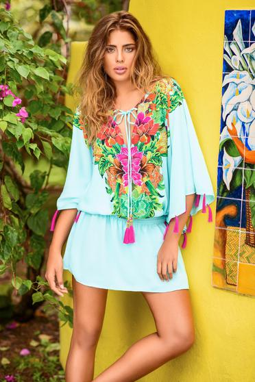 Cosita Linda blue dress beach wear flared with laced details
