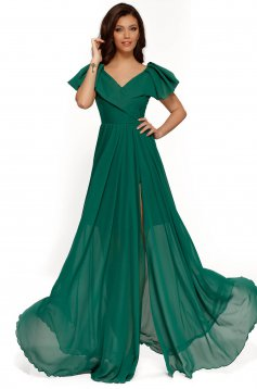 Green occasional dress voile fabric with inside lining with ruffle details