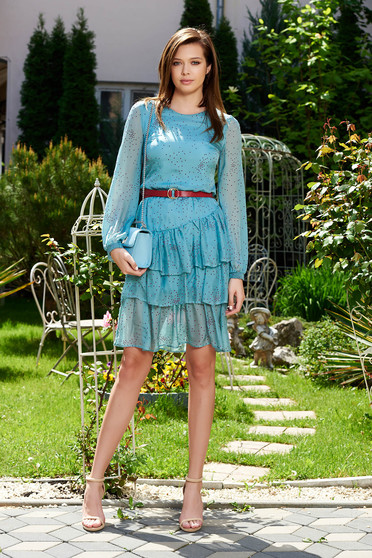 StarShinerS lightblue dress daily airy fabric with inside lining with ruffle details