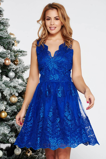 LaDonna blue occasional cloche dress laced with inside lining