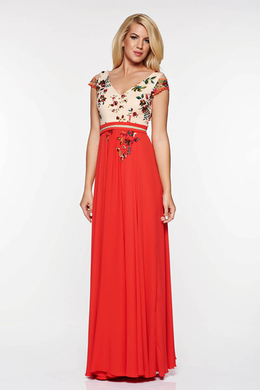 LaDonna red occasional embroidered dress with inside lining airy fabric
