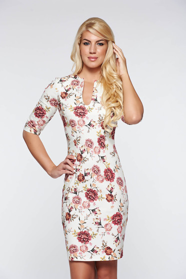 PrettyGirl cream elegant dress with v-neckline cotton with floral prints