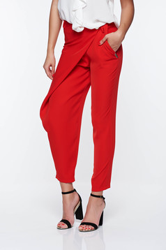 PrettyGirl red elegant trousers with medium waist airy fabric with pockets