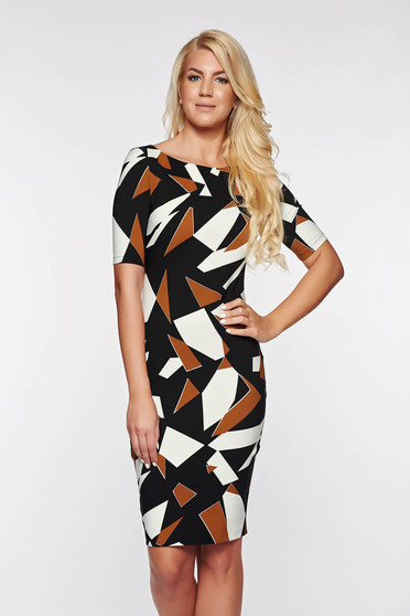 PrettyGirl black office pencil dress slightly elastic fabric with geometrical print