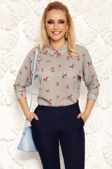 Fofy grey elegant women`s blouse with easy cut airy fabric with pointed collar