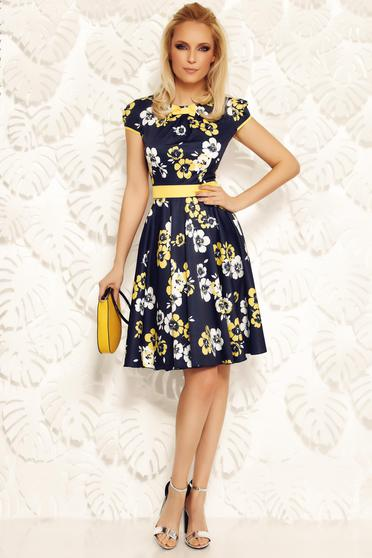 Fofy darkblue elegant cloche dress slightly elastic fabric accessorized with tied waistband