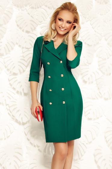 Fofy darkgreen elegant dress slightly elastic fabric from soft fabric blazer type