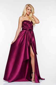 LaDonna purple dress occasional from satin fabric texture asymmetrical off shoulder