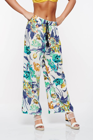 SunShine blue casual trousers with easy cut with elastic waist cotton