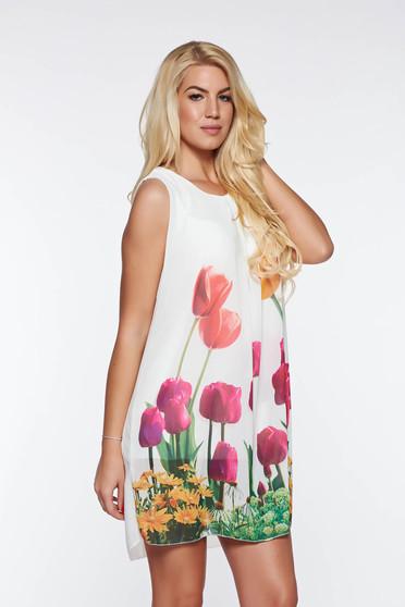 SunShine white daily flared dress transparent chiffon fabric with inside lining