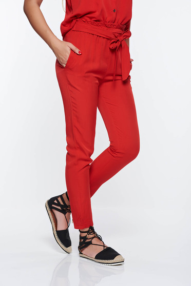 SunShine red casual high waisted trousers with pockets nonelastic fabric