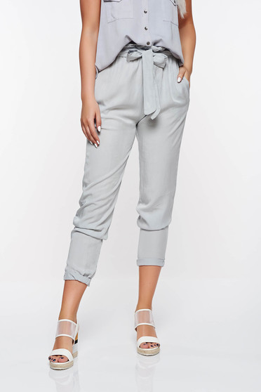 SunShine grey casual high waisted trousers with pockets nonelastic fabric
