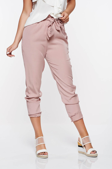 SunShine rosa casual high waisted trousers with pockets nonelastic fabric