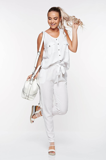 SunShine white casual high waisted trousers with pockets nonelastic fabric