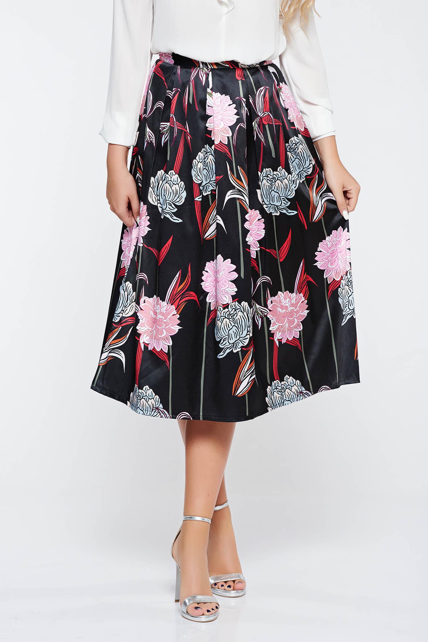 Sunshine Black Elegant Cloche Skirt High Waisted From Satin Fabric Petal Texture