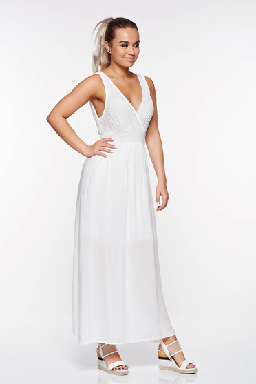 SunShine white casual flared dress airy fabric with elastic waist