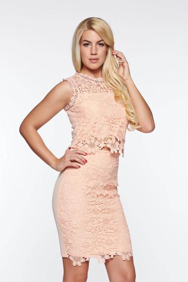 SunShine elegant knitted lace with inside lining with elastic waist rosa set