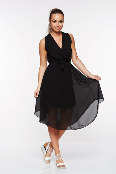 SunShine black daily dress with inside lining from veil with elastic waist