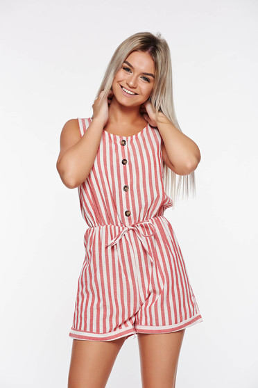 Casual SunShine red jumpsuit with elastic waist with easy cut nonelastic fabric