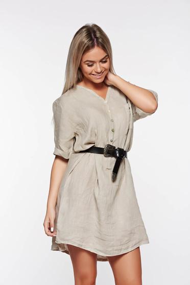 SunShine cream casual flared linen women`s shirt with v-neckline