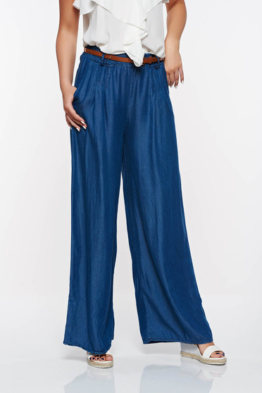 SunShine blue casual flared denim high waisted trousers with pockets with elastic waist