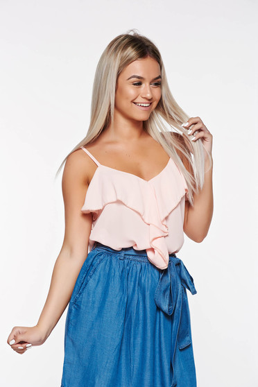 SunShine rosa elegant top shirt with easy cut transparent chiffon fabric with ruffles on the chest