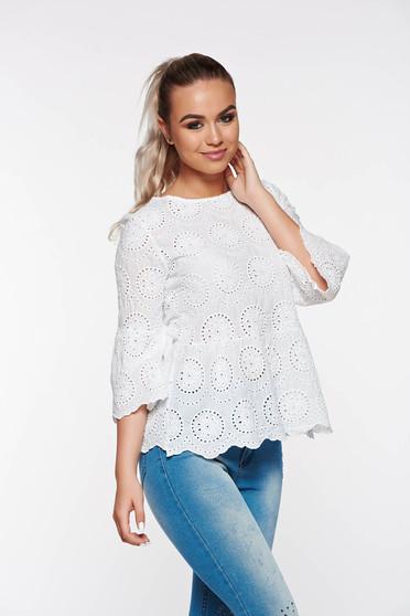 SunShine white casual flared linen women`s blouse bell sleeves