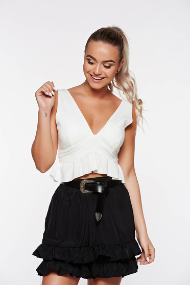SunShine white casual top shirt from elastic fabric with push-up cups bare back