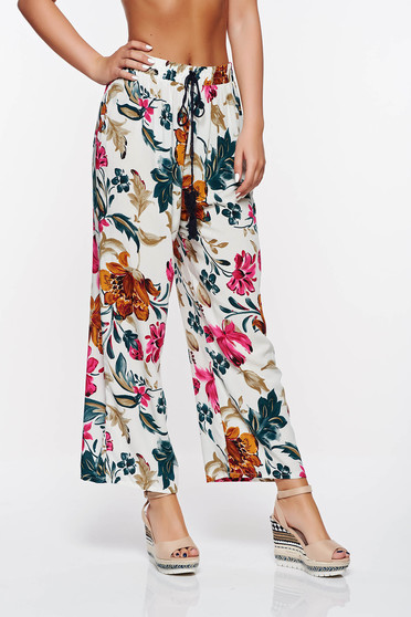 SunShine rosa casual trousers with easy cut with elastic waist cotton