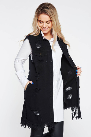 SunShine black casual gilet nonelastic cotton with easy cut with ruptures