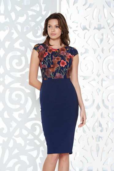 StarShinerS blue office pencil dress from elastic and fine fabric with inside lining