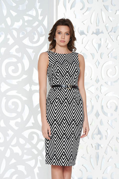 StarShinerS black office pencil dress from elastic and fine fabric accessorized with tied waistband