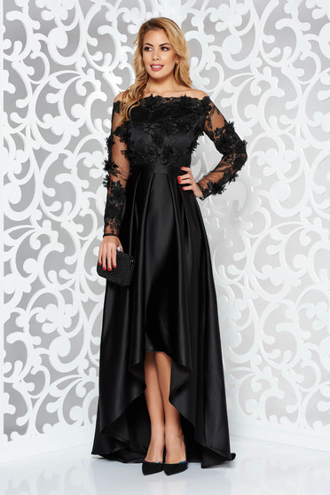 StarShinerS black asymmetrical occasional dress from satin fabric texture with floral details with 3d effect