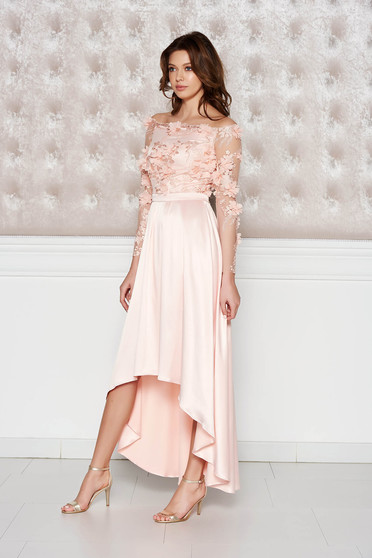 StarShinerS peach asymmetrical occasional dress from satin fabric texture with floral details with 3d effect