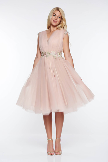 LaDonna rosa occasional cloche dress with embroidery details with inside lining from tulle