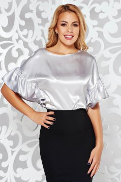 StarShinerS grey elegant women`s blouse with easy cut from satin fabric texture