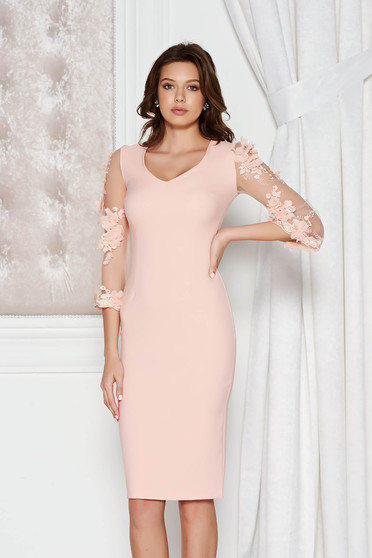 StarShinerS peach elegant pencil dress from elastic and fine fabric with floral details with 3d effect