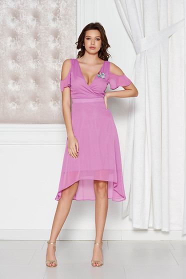 StarShinerS lila occasional asymmetrical dress transparent chiffon fabric with inside lining both shoulders cut out