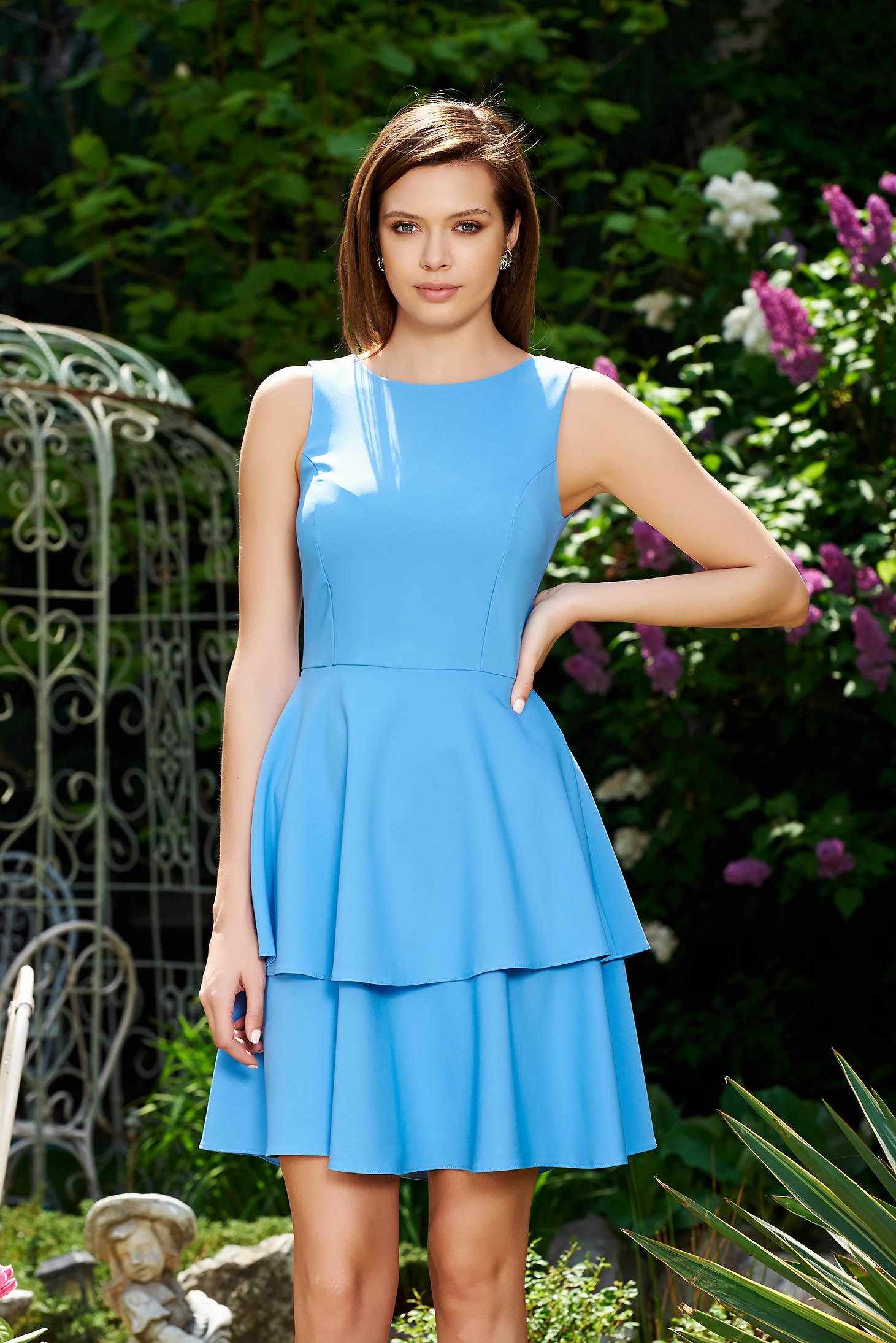 StarShinerS blue elegant cloche dress slightly elastic fabric with ruffle details