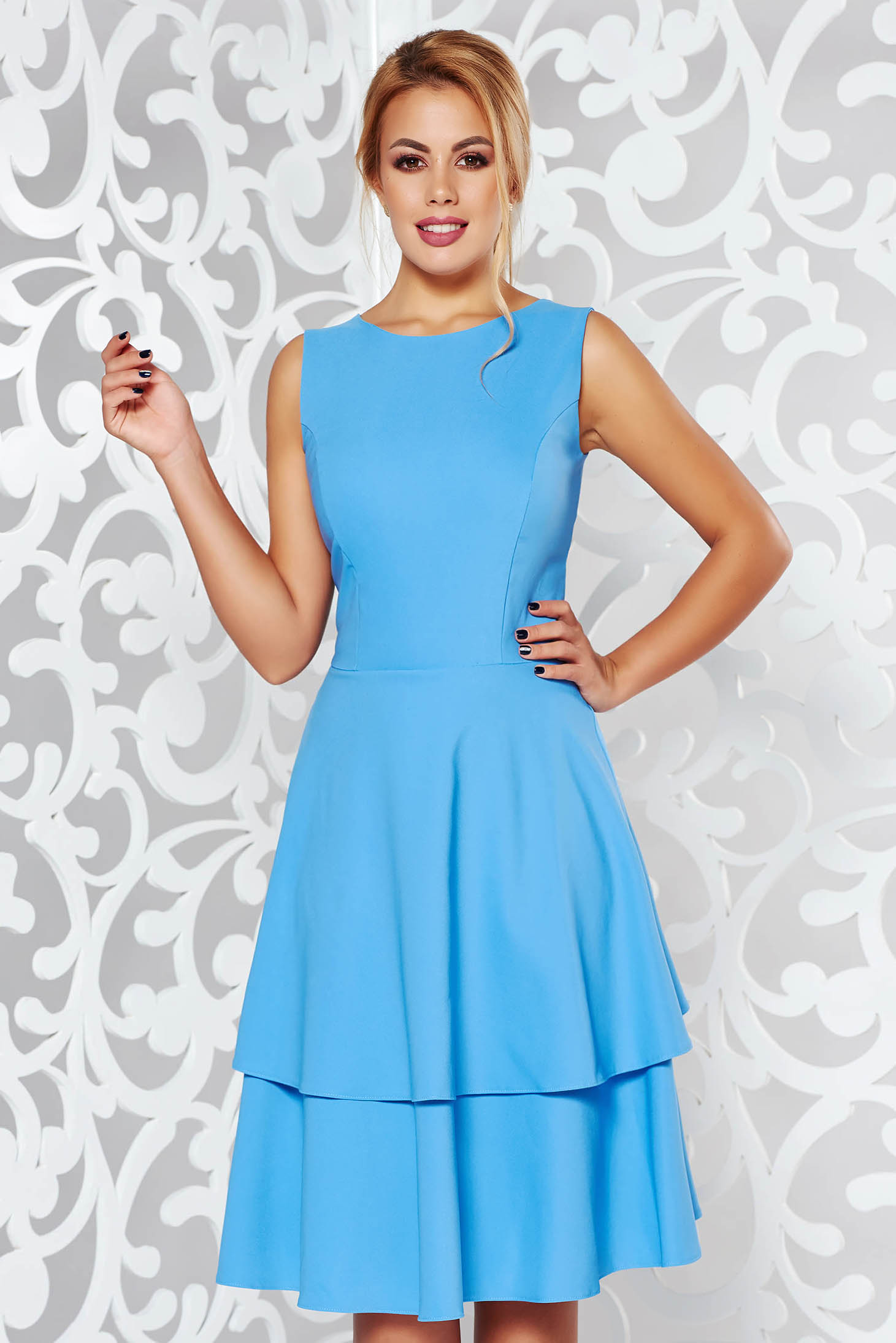 StarShinerS blue elegant cloche dress slightly elastic fabric with ruffle details