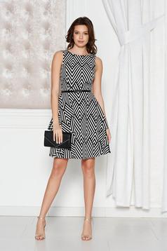 StarShinerS black elegant cloche dress slightly elastic fabric accessorized with tied waistband