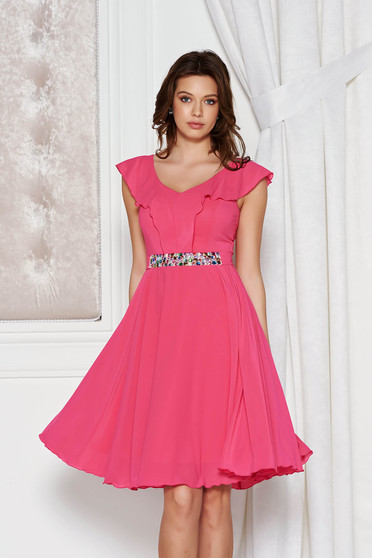 StarShinerS fuchsia dress elegant cloche from veil fabric with inside lining accessorized with tied waistband with embellished accessories
